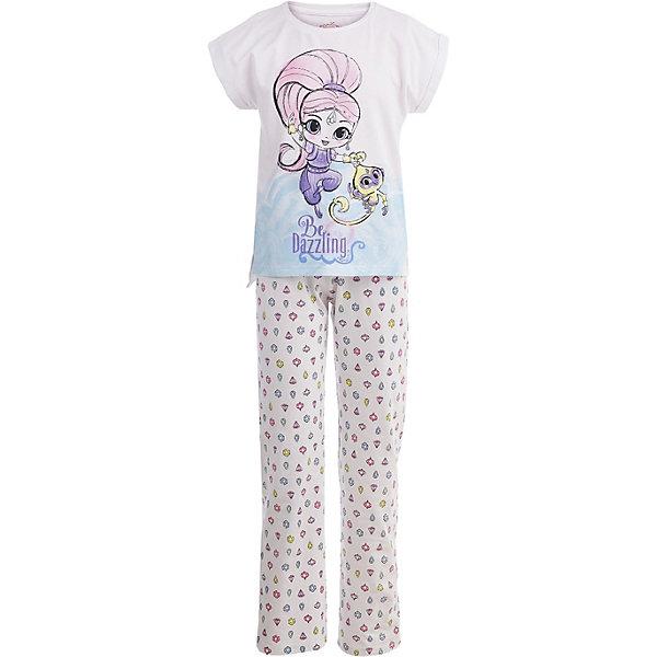 Пижама Button Blue для девочкиПижамы и сорочки<br>Характеристики товара:<br><br>• цвет: белый<br>• комплектация: футболка, брюки<br>• состав ткани: 95% хлопок, 5%эластан<br>• сезон: круглый год<br>• талия: резинка<br>• короткие рукава<br>• страна бренда: Россия<br><br>Дышащая детская пижама сделана из натурального хлопка, который не вызывает аллергии и прост в уходе. Такая пижама для ребенка от популярного бренда Button Blue выполнена в приятном цвете. Эта пижама для детей украшена принтом на тему любимого детьми мультфильма «Шиммер и Шайн».<br><br>Пижаму Button Blue (Баттон Блю) для девочки можно купить в нашем интернет-магазине.<br>Ширина мм: 281; Глубина мм: 70; Высота мм: 188; Вес г: 295; Цвет: белый; Возраст от месяцев: 24; Возраст до месяцев: 36; Пол: Женский; Возраст: Детский; Размер: 98,152,140,128,116,104; SKU: 7746872;