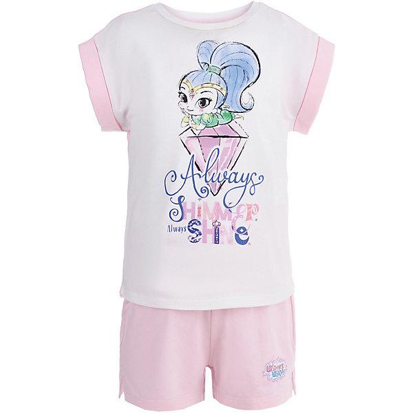 Пижама Button Blue для девочкиПижамы и сорочки<br>Характеристики товара:<br><br>• цвет: голубой<br>• комплектация: футболка, шорты<br>• состав ткани: 95% хлопок, 5%эластан<br>• сезон: круглый год<br>• талия: резинка<br>• короткие рукава<br>• страна бренда: Россия<br><br>Хлопковая пижама для ребенка от популярного бренда Button Blue выполнена в приятной расцветке. Материал этой детской пижамы - преимущественно легкий натуральный хлопок, который создает комфортные условия для тела. Такая пижама для детей украшена принтом на тему любимого детьми мультфильма «Шиммер и Шайн». <br><br>Пижаму Button Blue (Баттон Блю) для девочки можно купить в нашем интернет-магазине.<br>Ширина мм: 281; Глубина мм: 70; Высота мм: 188; Вес г: 295; Цвет: белый; Возраст от месяцев: 24; Возраст до месяцев: 36; Пол: Женский; Возраст: Детский; Размер: 98,152,140,128,116,104; SKU: 7746900;