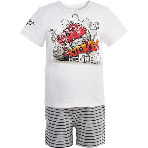Пижама Button Blue для мальчикаПижамы и сорочки<br>Характеристики товара:<br><br>• цвет: белый<br>• комплектация: футболка, шорты<br>• состав ткани: 95% хлопок, 5%эластан<br>• сезон: круглый год<br>• талия: резинка<br>• короткие рукава<br>• страна бренда: Россия<br><br>Качественная пижама для ребенка от популярного бренда Button Blue выполнена в приятной расцветке. Материал этой детской пижамы - преимущественно легкий натуральный хлопок, который создает комфортные условия для тела. Такая пижама для детей украшена принтом на тему любимого детьми мультфильма «Вспыш и чудо-машинки». <br><br>Пижаму Button Blue (Баттон Блю) для мальчика можно купить в нашем интернет-магазине.<br>Ширина мм: 281; Глубина мм: 70; Высота мм: 188; Вес г: 295; Цвет: белый; Возраст от месяцев: 24; Возраст до месяцев: 36; Пол: Мужской; Возраст: Детский; Размер: 98,152,140,128,116,104; SKU: 7746921;