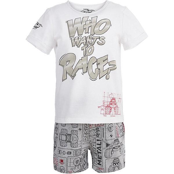 Пижама Button Blue для мальчикаПижамы и сорочки<br>Характеристики товара:<br><br>• цвет: белый<br>• комплектация: футболка, шорты<br>• состав ткани: 95% хлопок, 5%эластан<br>• сезон: круглый год<br>• талия: резинка<br>• короткие рукава<br>• страна бренда: Россия<br><br>Принтованная пижама для ребенка от популярного бренда Button Blue выполнена в приятном цвете. Удобная детская пижама сделана из натурального хлопка, который не вызывает аллергии и прост в уходе. Эта пижама для детей украшена принтом на тему любимого детьми мультфильма «Вспыш и чудо-машинки».<br><br>Пижаму Button Blue (Баттон Блю) для мальчика можно купить в нашем интернет-магазине.<br>Ширина мм: 281; Глубина мм: 70; Высота мм: 188; Вес г: 295; Цвет: белый; Возраст от месяцев: 24; Возраст до месяцев: 36; Пол: Мужской; Возраст: Детский; Размер: 98,152,140,128,104,116; SKU: 7746928;