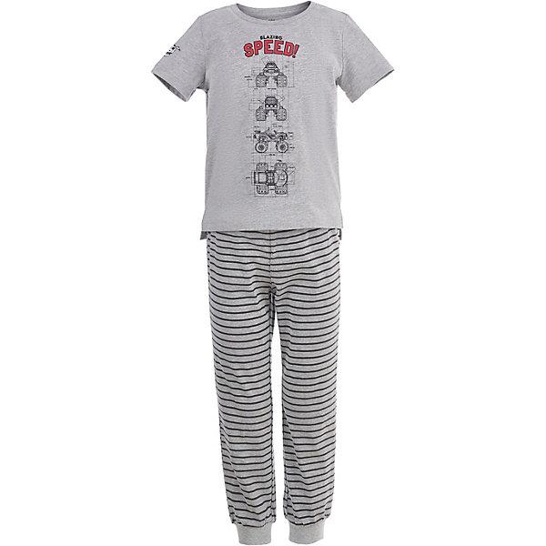 Пижама Button Blue для мальчикаПижамы и сорочки<br>Характеристики товара:<br><br>• цвет: серый<br>• комплектация: футболка, брюки<br>• состав ткани: 95% хлопок, 5%эластан<br>• сезон: круглый год<br>• талия: резинка<br>• короткие рукава<br>• страна бренда: Россия<br><br>Дышащая пижама для ребенка от популярного бренда Button Blue - это футболка и брюки. Удобная детская пижама сделана из натурального хлопка, который не вызывает аллергии и прост в уходе. Эта пижама для детей украшена принтом на тему любимого детьми мультфильма «Вспыш и чудо-машинки».<br><br>Пижаму Button Blue (Баттон Блю) для мальчика можно купить в нашем интернет-магазине.<br>Ширина мм: 281; Глубина мм: 70; Высота мм: 188; Вес г: 295; Цвет: серый; Возраст от месяцев: 24; Возраст до месяцев: 36; Пол: Мужской; Возраст: Детский; Размер: 98,152,140,128,116,104; SKU: 7746949;