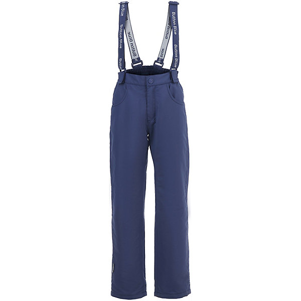 Комбинезон Button Blue для мальчикаВерхняя одежда<br>Характеристики товара:<br><br>• цвет: синий<br>• состав ткани: 100% полиэстер <br>• подкладка: 100% полиэстер (флис)<br>• утеплитель: нет<br>• сезон: демисезон<br>• застежка: пуговица<br>• лямки: регулируются<br>• страна бренда: Россия<br><br>Синие брюки для ребенка от популярного бренда Button Blue хорошо сочетаются с одеждой различных оттенков благодаря базовому цвету. Такие брюки для детей дополнены регулируемыми лямками. Однотонные брюки сделаны из плотной ткани, внутри - флисовая подкладка. <br><br>Брюки Button Blue (Баттон Блю) для мальчика можно купить в нашем интернет-магазине.<br>Ширина мм: 215; Глубина мм: 88; Высота мм: 191; Вес г: 336; Цвет: темно-синий; Возраст от месяцев: 48; Возраст до месяцев: 60; Пол: Мужской; Возраст: Детский; Размер: 110,104,98,158,152,146,140,122,134,128,116; SKU: 7747037;