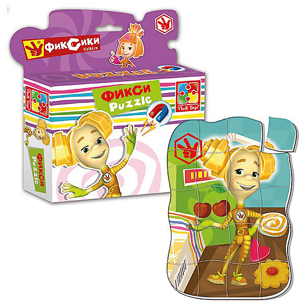 Магнитные фигурные пазлы Фиксики ШпуляПопулярные игрушки<br>Характеристики:<br><br>• возраст: от 3 лет;<br>• материал: полимер, магнит;<br>• количество деталей: 20;<br>• размер упаковки: 4,5х16,5х19,5 см;<br>• вес упаковки: 94 гр.;<br>• страна бренда: Украина.<br><br>Магнитный фигурный пазл Фиксики «Шпуля» от компании Vladi Toys собирается в красочную картинку с героиней любимого детского мультфильма. Пазл можно собирать на разных металлических поверхностях или использовать как обычный мягкий пазл.<br><br>Объемные детали из воздушного полимера отлично переносят механическое воздействие. Материал безопасен для ребенка, его текстура приятна на ощупь.<br><br>Элементы пазла легко соединяются между собой. Сборка изображения развивает внимательность и логическое мышление. Готовую картинку можно повесить на холодильник.<br><br>Магнитные фигурные пазлы Фиксики «Шпуля» можно купить в нашем интернет-магазине.<br>Ширина мм: 45; Глубина мм: 165; Высота мм: 195; Вес г: 94; Возраст от месяцев: 36; Возраст до месяцев: 60; Пол: Унисекс; Возраст: Детский; SKU: 7748176;