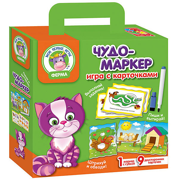 Игра с карточками Чудо-маркер ФермаОбучающие игры для дошкольников<br>Характеристики:<br><br>• возраст: от 3 лет;<br>• материал: пластик;<br>• в наборе: 9 двусторонних карточек, маркер с губкой, инструкция;<br>• размер упаковки: 5х18х22 см;<br>• вес упаковки: 160 гр.;<br>• страна бренда: Украина.<br><br>Игра с карточками Vladi Toys «Ферма» серии «Чудо-маркер» поможет быстро и в игровой форме развить умственные способности, логическое мышление и сообразительность у ребенка.<br><br>В распоряжении малыша 9 двусторонних карточек: на одной стороне изображения с животными и предметами, на другой – интересные задания. Специальный маркер, который можно стереть с поверхности карточки, позволит ребенку неоднократно возвращаться к заданиям и выполнять их снова и снова.<br><br>Кроме того, в наборе есть инструкция с правилами игры и ее вариантами, чтобы набор долго оставался актуальным для ребенка.<br><br>Игру с карточками Чудо-маркер «Ферма» можно купить в нашем интернет-магазине.<br>Ширина мм: 50; Глубина мм: 180; Высота мм: 220; Вес г: 160; Возраст от месяцев: 36; Возраст до месяцев: 60; Пол: Унисекс; Возраст: Детский; SKU: 7748184;