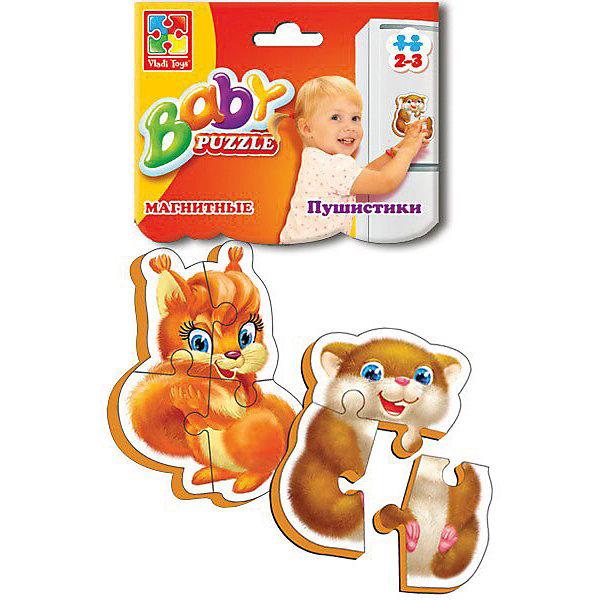 Мягкие магнитные Baby puzzle ПушистикиПазлы для малышей<br>Характеристики:<br><br>• возраст: от 2 лет;<br>• материал: вспененный полимер, магнит, картон;<br>• количество деталей: 8;<br>• в наборе 2 пазла;<br>• размер упаковки: 1х13,5х25,5 см;<br>• вес упаковки: 58 гр.;<br>• страна бренда: Украина.<br><br>Мягкие магнитные Baby puzzle «Пушистики» от компании Vladi Toys можно собирать на разных металлических поверхностях или использовать как обычный мягкий пазл. Объемные детали из вспененного полимера отлично переносят механическое воздействие. Материал безопасен для ребенка, его текстура приятна на ощупь. Верхнее покрытие – картон.<br><br>Детали пазла легко соединяются между собой. Сборка изображения развивает внимательность и логическое мышление. Готовую картинку можно повесить на холодильник.<br><br>Мягкие магнитные Baby puzzle «Пушистики» можно купить в нашем интернет-магазине.<br>Ширина мм: 10; Глубина мм: 135; Высота мм: 255; Вес г: 58; Возраст от месяцев: 12; Возраст до месяцев: 36; Пол: Унисекс; Возраст: Детский; SKU: 7748186;