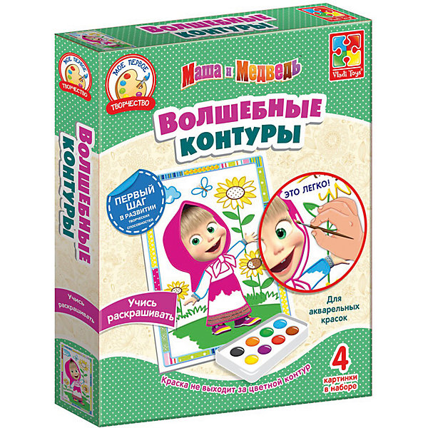 Набор для творчества Волшебные контуры Маша и Медведь Маша с подсолнухамиРаскраски для детей<br>Характеристики:<br><br>• возраст: от 3 лет;<br>• в наборе: 4 картинки с контурами;<br>• краски и кисть в комплект не входят;<br>• материал: бумага, пластик;<br>• размер упаковки: 3,4х19,3х23,8 см;<br>• вес упаковки: 111 гр.;<br>• страна бренда: Украина.<br><br>Набор для творчества Vladi Toys Маша и Медведь «Маша с подсолнухами» из серии «Волшебные контуры» содержит 4 картинки-шаблона с цветными контурами. Каждый контур подсказывает ребенку цвет, которым нужно раскрасить изображение.<br><br>Контуры пропитаны специальной водоотталкивающей пропиткой, поэтому краски не растекутся и картина получится аккуратной. Кроме того, в шаблоне уже предусмотрены декоры в виде рамки.<br><br>Набор помогает закрепить знания о цветах, развивает воображение и эстетический вкус. Подходит для акварельных красок.<br><br>Набор для творчества Волшебные контуры Маша и Медведь «Маша с подсолнухами» можно купить в нашем интернет-магазине.<br>Ширина мм: 34; Глубина мм: 193; Высота мм: 238; Вес г: 111; Возраст от месяцев: 24; Возраст до месяцев: 48; Пол: Унисекс; Возраст: Детский; SKU: 7748196;