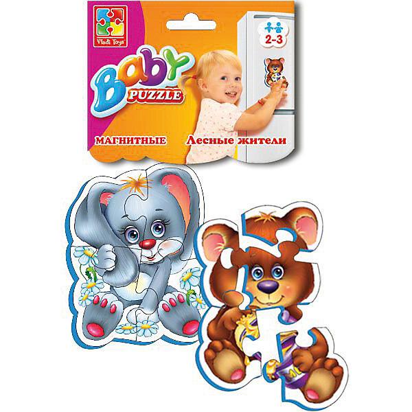 Мягкие магнитные Baby puzzle Лесные жителиПазлы для малышей<br>Характеристики:<br><br>• возраст: от 2 лет;<br>• материал: вспененный полимер, магнит, картон;<br>• количество деталей: 9;<br>• в наборе 2 пазла;<br>• размер упаковки: 1х13,5х25,5 см;<br>• вес упаковки: 58 гр.;<br>• страна бренда: Украина.<br><br>Мягкие магнитные Baby puzzle «Лесные жители» от компании Vladi Toys можно собирать на разных металлических поверхностях или использовать как обычный мягкий пазл. Объемные детали из вспененного полимера отлично переносят механическое воздействие. Материал безопасен для ребенка, его текстура приятна на ощупь. Верхнее покрытие – картон.<br><br>Детали пазла легко соединяются между собой. Сборка изображения развивает внимательность и логическое мышление. Готовую картинку можно повесить на холодильник.<br><br>Мягкие магнитные Baby puzzle «Лесные жители» можно купить в нашем интернет-магазине.<br>Ширина мм: 10; Глубина мм: 135; Высота мм: 255; Вес г: 58; Возраст от месяцев: 12; Возраст до месяцев: 36; Пол: Унисекс; Возраст: Детский; SKU: 7748208;