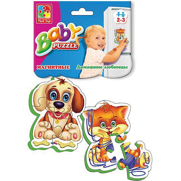 Мягкие магнитные Baby puzzle Домашние любимцыПазлы для малышей<br>Характеристики:<br><br>• возраст: от 2 лет;<br>• материал: вспененный полимер, магнит, картон;<br>• количество деталей: 8;<br>• в наборе 2 пазла;<br>• размер упаковки: 1х13,5х25,5 см;<br>• вес упаковки: 58 гр.;<br>• страна бренда: Украина.<br><br>Мягкие магнитные Baby puzzle «Домашние любимцы» от компании Vladi Toys можно собирать на разных металлических поверхностях или использовать как обычный мягкий пазл. Объемные детали из вспененного полимера отлично переносят механическое воздействие. Материал безопасен для ребенка, его текстура приятна на ощупь. Верхнее покрытие – картон.<br><br>Детали пазла легко соединяются между собой. Сборка изображения развивает внимательность и логическое мышление. Готовую картинку можно повесить на холодильник.<br><br>Мягкие магнитные Baby puzzle «Домашние любимцы» можно купить в нашем интернет-магазине.<br>Ширина мм: 10; Глубина мм: 135; Высота мм: 255; Вес г: 58; Возраст от месяцев: 12; Возраст до месяцев: 36; Пол: Унисекс; Возраст: Детский; SKU: 7748222;
