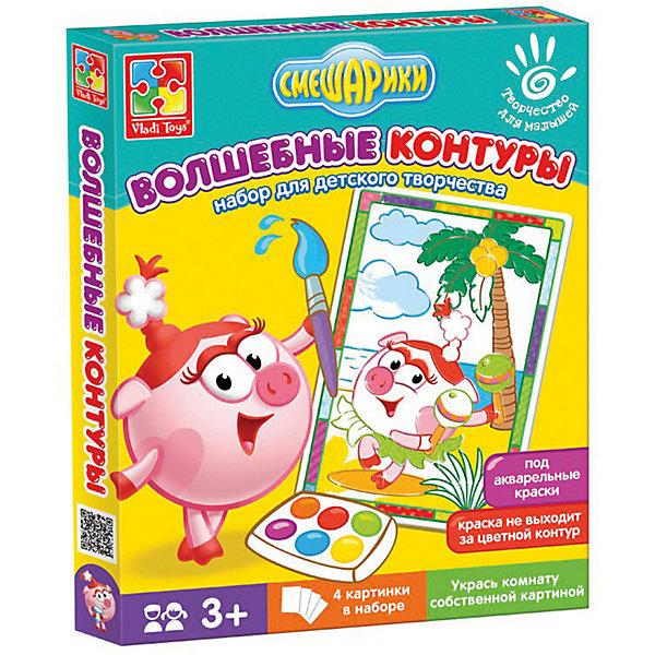 Набор для творчества Волшебные контуры Смешарики НюшаРаскраски для малышей<br>Характеристики:<br><br>• возраст: от 3 лет;<br>• в наборе: 4 картинки с контурами;<br>• краски и кисть в комплект не входят;<br>• материал: бумага, пластик;<br>• размер упаковки: 2,5х20,6х25,7 см;<br>• вес упаковки: 100 гр.;<br>• страна бренда: Украина.<br><br>Набор для творчества Vladi Toys Смешарики «Нюша» из серии «Волшебные контуры» содержит 4 картинки-шаблона с цветными контурами. Каждый контур подсказывает ребенку цвет, которым нужно раскрасить изображение.<br><br>Контуры пропитаны специальной водоотталкивающей пропиткой, поэтому краски не растекутся и картина получится аккуратной. Кроме того, в шаблоне уже предусмотрены декоры в виде рамки.<br><br>Набор помогает закрепить знания о цветах, развивает воображение и эстетический вкус. Подходит для акварельных красок.<br><br>Набор для творчества Волшебные контуры Смешарики «Нюша» можно купить в нашем интернет-магазине.<br>Ширина мм: 25; Глубина мм: 206; Высота мм: 257; Вес г: 100; Возраст от месяцев: 24; Возраст до месяцев: 48; Пол: Унисекс; Возраст: Детский; SKU: 7748224;