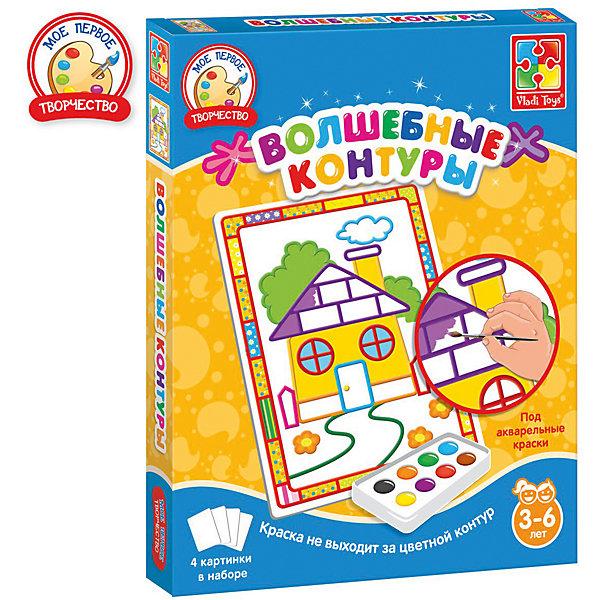 Набор для творчества Волшебные контуры ДомикРаскраски для детей<br>Характеристики:<br><br>• возраст: от 3 лет;<br>• в наборе: 4 картинки с контурами;<br>• краски и кисть в комплект не входят;<br>• материал: бумага, пластик;<br>• размер упаковки: 2,5х20,6х25,7 см;<br>• вес упаковки: 180 гр.;<br>• страна бренда: Украина.<br><br>Набор для творчества Vladi Toys «Домик» из серии «Волшебные контуры» содержит 4 картинки-шаблона с цветными контурами. Каждый контур подсказывает ребенку цвет, которым нужно раскрасить изображение.<br><br>Контуры пропитаны специальной водоотталкивающей пропиткой, поэтому краски не растекутся и картина получится аккуратной. Кроме того, в шаблоне уже предусмотрены декоры в виде рамки.<br><br>Набор помогает закрепить знания о цветах, развивает воображение и эстетический вкус. Подходит для акварельных красок.<br><br>Набор для творчества Волшебные контуры «Домик» можно купить в нашем интернет-магазине.<br>Ширина мм: 25; Глубина мм: 206; Высота мм: 257; Вес г: 180; Возраст от месяцев: 24; Возраст до месяцев: 48; Пол: Унисекс; Возраст: Детский; SKU: 7748226;