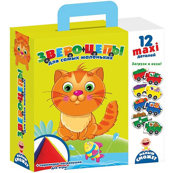 Игра для самых маленьких Звероцепы с мягкой пирамидкойОбучающие игры для дошкольников<br>Характеристики:<br><br>• возраст: от 3 лет;<br>• материал: картон, х/б текстиль;<br>• количество деталей: 12;<br>• в наборе: 12 деталей, погремушка-пирамидка;<br>• размер упаковки: 6х21,5х25,5 см;<br>• вес упаковки: 307 гр.;<br>• страна бренда: Украина.<br><br>В игре Vladi Toys «Звероцепы» малышу предлагается собрать прицепы-пазлы с животными. Детали пазла распределены по цвету для каждой зверушки, однако все элементы комбинируются между собой. Пирамидка-погремушка с цветными гранями подскажет ребенку, как называется тот или иной цвет.<br><br>«Звероцепы» эффективно развивает цветовосприятие, логическое мышление, фантазию и мелкую моторику. Кроме того, возможность экспериментов и сюжетных игр делает набор актуальным на долгое время.<br><br>Игру для самых маленьких «Звероцепы» с мягкой пирамидкой можно купить в нашем интернет-магазине.<br>Ширина мм: 60; Глубина мм: 215; Высота мм: 255; Вес г: 307; Возраст от месяцев: 36; Возраст до месяцев: 2147483647; Пол: Унисекс; Возраст: Детский; SKU: 7748266;