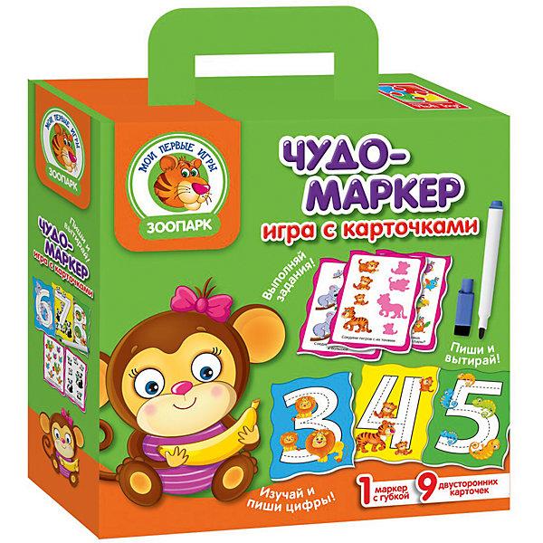 Игра с карточками Чудо-маркер ЗоопаркОбучающие игры для дошкольников<br>Характеристики:<br><br>• возраст: от 3 лет;<br>• материал: пластик;<br>• в наборе: 9 двусторонних карточек, маркер с губкой, инструкция;<br>• размер упаковки: 5х18х22 см;<br>• вес упаковки: 160 гр.;<br>• страна бренда: Украина.<br><br>Игра с карточками Vladi Toys «Зоопарк» серии «Чудо-маркер» поможет быстро и в игровой форме развить умственные способности, логическое мышление и сообразительность у ребенка.<br><br>В распоряжении малыша 9 двусторонних карточек: на одной стороне цифры, на другой – интересные задания. Специальный маркер, который можно стереть с поверхности карточки, позволит ребенку неоднократно возвращаться к заданиям и выполнять их снова и снова.<br><br>Кроме того, в наборе есть инструкция с правилами игры и ее вариантами, чтобы набор долго оставался актуальным для ребенка.<br><br>Игру с карточками Чудо-маркер «Зоопарк» можно купить в нашем интернет-магазине.<br>Ширина мм: 50; Глубина мм: 220; Высота мм: 180; Вес г: 160; Возраст от месяцев: 36; Возраст до месяцев: 60; Пол: Унисекс; Возраст: Детский; SKU: 7748268;