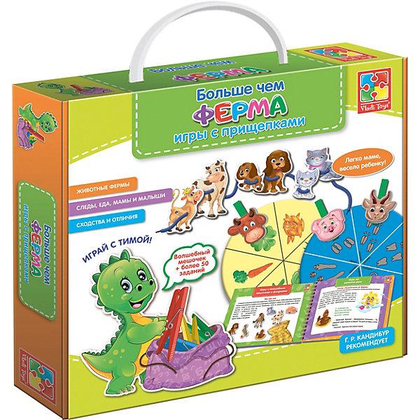Больше чем ФермаОбучающие игры для дошкольников<br>Характеристики:<br><br>• возраст: от 3 лет;<br>• материал: пластик, картон, текстиль;<br>• в наборе: 26 картонных деталей, 6 прищепок, шнурок, круг, пособие с заданиями, наклейку-декор, мешочек из ткани;<br>• размер упаковки: 5х25,5х28,5 см;<br>• вес упаковки: 420 гр.;<br>• страна бренда: Украина.<br><br>Игра Vladi Toys «Больше чем Ферма» познакомит малыша с разными животными, их миром и особенностями.<br><br>В распоряжении ребенка окажутся красочные детали, которые помогут в изучении частей тела животных, их отличий. Также в наборе есть прищепки и фигурки зверей, которые можно надевать на диск или шнурок, тренируя мелкую моторику. Элементы игры можно удобно хранить в мешочке.<br><br>Чтобы игра оставалась актуальной как можно дольше, предусмотрено пособие с разнообразными заданиями, стихами и скороговоркам.<br><br>Игру «Больше чем Ферма». Игры с пуговицами можно купить в нашем интернет-магазине.<br>Ширина мм: 50; Глубина мм: 255; Высота мм: 285; Вес г: 420; Возраст от месяцев: 36; Возраст до месяцев: 84; Пол: Унисекс; Возраст: Детский; SKU: 7748286;