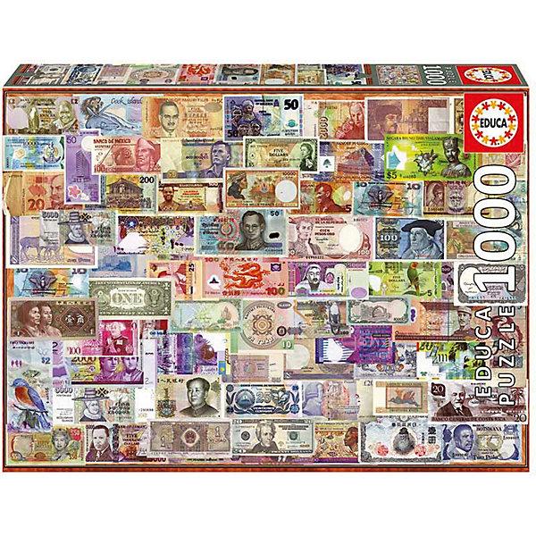 Пазл Educa 1000 деталей  Мир банкнотПазлы классические<br>Характеристики товара:<br><br>• возраст: от 9 лет;<br>• количество деталей: 1000 шт;<br>• материал: картон;<br>• в комплекте: сухой клей;<br>• размер упаковки: 37х27х6 см;<br>• размер картины: 68х48 см;<br>• вес упаковки: 700 гр.;<br>• страна бренда: Испания.<br><br>Пазл Educa Мир банкнот – это отличный способ увлекательно провести досуг, снять стресс и развить моторику.<br><br>Качество этих пазлов подтверждено миллионами любителей сборки пазлов. Каждая деталь имеет индивидуальную форму и легко соединяется с другой, поэтому у Вас обязательно получится ожидаемый результат.<br><br>Компания Educa предоставляет уникальный постпродажный сервис - бесплатная доставка в любую точку мира потерянной детали.<br><br>Пазл Educa Мир банкнот можно купить в нашем интернет-магазине.<br>Ширина мм: 370; Глубина мм: 55; Высота мм: 270; Вес г: 750; Возраст от месяцев: 36; Возраст до месяцев: 1188; Пол: Унисекс; Возраст: Детский; SKU: 7753399;