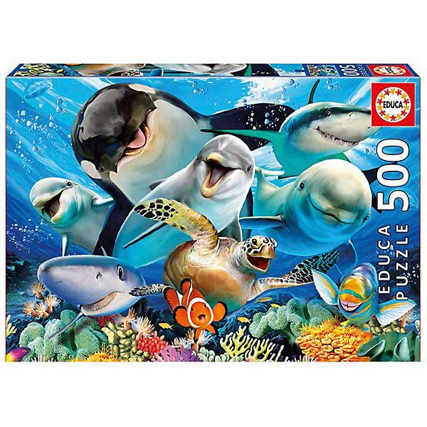 Пазл Educa 500 деталей  Подводное селфиПазлы классические<br>Характеристики товара:<br><br>• возраст: от 9 лет;<br>• количество деталей: 500 шт;<br>• материал: картон;<br>• в комплекте: сухой клей;<br>• размер упаковки: 23х33х4 см;<br>• размер картины: 48х34 см;<br>• вес упаковки: 460 гр.;<br>• страна бренда: Испания.<br><br>Пазл Educa Подводное селфи – это отличный способ увлекательно провести досуг, снять стресс и развить моторику.<br><br>Качество этих пазлов подтверждено миллионами любителей сборки пазлов. Каждая деталь имеет индивидуальную форму и легко соединяется с другой, поэтому у Вас обязательно получится ожидаемый результат.<br><br>Компания Educa предоставляет уникальный постпродажный сервис - бесплатная доставка в любую точку мира потерянной детали.<br><br>Пазл Educa Подводное селфи можно купить в нашем интернет-магазине.<br>Ширина мм: 332; Глубина мм: 45; Высота мм: 227; Вес г: 450; Возраст от месяцев: 36; Возраст до месяцев: 1188; Пол: Унисекс; Возраст: Детский; SKU: 7753407;