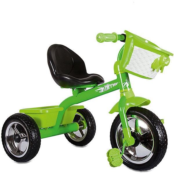 Велосипед Zilmer Сильвер Люкс, 3 колеса EVA 10/8, зеленыйВелосипеды детские<br>Характеристики:<br><br>• возраст: от 2 лет;<br>• материал: EVA, пластик, металл;<br>• цвет: зеленый;<br>• максимальная нагрузка: 25 кг;<br>• вес: 4,25 кг.;<br>• размер упаковки: 50х38х40 см;<br>• страна бренда: Китай.<br><br>Трехколесный Велосипед Zilmer «Сильвер Люкс» отлично подойдет для летних городских прогулок. Колеса сделаны из плотного упругого материала на основе вспененного каучука, что смягчает ход велосипеда по неровной дороге.<br><br>Педали расположены на большом переднем колесе. Если ребенок захочет затормозить, достаточно перестать вращать педали. На руле есть мягкая накладка и звонок, руль регулируется по высоте. На концах ручек встроены ограничители против удара.<br><br>У велосипеда удобное глубокое сиденье с небольшой спинкой и бортиком спереди. Предусмотрено широкое крыло против брызг в дождливую погоду. Имеется держатель для бутылочки. Бутылочка в комплекте. Велосипед не складывается.<br><br>Велосипед Zilmer «Сильвер Люкс», 3 колеса EVA 10/8, зеленый можно купить в нашем интернет-магазине.<br>Ширина мм: 50; Глубина мм: 38; Высота мм: 40; Вес г: 4250; Цвет: зеленый; Возраст от месяцев: 12; Возраст до месяцев: 36; Пол: Унисекс; Возраст: Детский; SKU: 7753561;