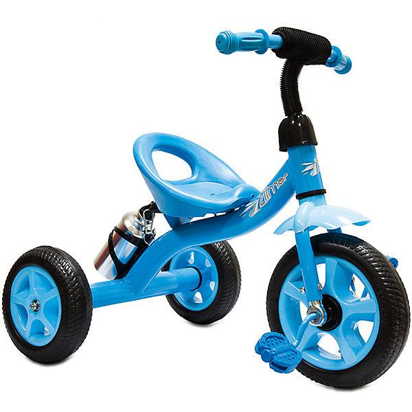 Велосипед Zilmer  Сильвер Люкс,  3 колеса EVA 10/8, синийВелосипеды и аксессуары<br>Характеристики:<br><br>• возраст: от 2 лет;<br>• материал: EVA, пластик, металл;<br>• цвет: синий;<br>• максимальная нагрузка: 25 кг;<br>• вес: 4,4 кг.;<br>• размер упаковки: 50х38х40 см;<br>• страна бренда: Китай.<br><br>Трехколесный Велосипед Zilmer «Сильвер Люкс» отлично подойдет для летних городских прогулок. Колеса сделаны из плотного упругого материала на основе вспененного каучука, что смягчает ход велосипеда по неровной дороге.<br><br>Педали расположены на большом переднем колесе. Если ребенок захочет затормозить, достаточно перестать вращать педали. На руле есть мягкая накладка и звонок, руль регулируется по высоте. На концах ручек встроены ограничители против удара.<br><br>У велосипеда удобное глубокое сиденье с небольшой спинкой и бортиком спереди. Предусмотрено широкое крыло против брызг в дождливую погоду. Имеется держатель для бутылочки. Бутылочка в комплекте. Велосипед не складывается.<br><br>Велосипед Zilmer «Сильвер Люкс», 3 колеса EVA 10/8, синий можно купить в нашем интернет-магазине.<br>Ширина мм: 50; Глубина мм: 38; Высота мм: 40; Вес г: 4400; Цвет: синий; Возраст от месяцев: 12; Возраст до месяцев: 36; Пол: Унисекс; Возраст: Детский; SKU: 7753571;