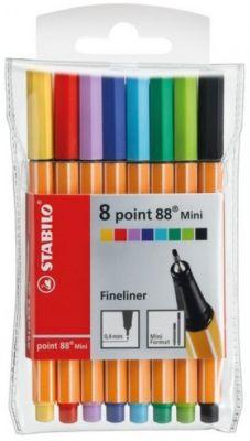 Набор капиллярных ручек Stabilo point 88 mini, 8цв, артикул:7754158 - Канцтовары