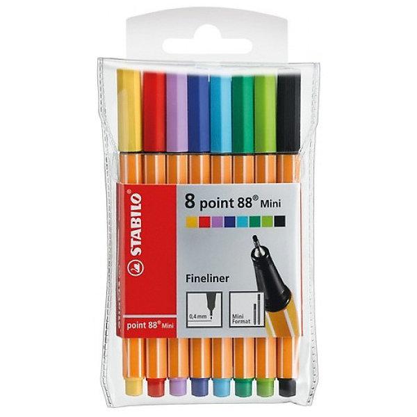 Набор капиллярных ручек Stabilo point 88 mini, 8цвПисьменные принадлежности<br>Характеристики:<br><br>• возраст: от 3 лет<br>• в наборе: 8 капиллярных ручек<br>• количество цветов: 8<br>• чернила на водной основе<br>• длина ручки: 11,8 см.<br>• толщина линии: 0,4 мм.<br>• материал корпуса: полипропилен <br>• упаковка: пластиковая<br>• размер упаковки: 13х8х0,8 см.<br><br>Капиллярная ручка Stabilo point 88 mini – это миниатюрная копия классической ручки Stabilo point 88. Она не займет много места в кейсе или рюкзаке и отлично подойдет для небольших пеналов, сумок.<br><br>Капиллярная ручка Stabilo point 88 mini предназначена для особо легкого и мягкого письма, рисования и черчения. Металлическое обжатие наконечника дает возможность работать с линейками и трафаретами, не оставляя на них следов чернил. Высокое качество износостойкого пишущего наконечника и большой запас чернил значительно увеличивают срок службы ручки.<br><br>Яркие чернила на водной основе без запаха, не пропитывают бумагу, не размазываются, хорошо отстирываются.<br><br>Ручки могут долгое время лежать без колпачка, при этом чернила не высохнут. Цвет колпачка ручек соответствует цвету чернил.<br><br>Набор капиллярных ручек Stabilo point 88 mini, 8цв можно купить в нашем интернет-магазине.<br>Ширина мм: 80; Глубина мм: 130; Высота мм: 8; Вес г: 40; Возраст от месяцев: 36; Возраст до месяцев: 2147483647; Пол: Унисекс; Возраст: Детский; SKU: 7754158;