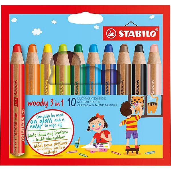 Набор цветных карандашей Stabilo woody 10цв, картонЦветные<br>Характеристики:<br><br>• возраст: от 3 лет<br>• в наборе: 10 карандашей<br>• количество цветов: 10<br>• диаметр грифеля: 1 см.<br>• длина карандаша: 11 см.<br>• материал корпуса: древесина<br>• упаковка: картонная коробка<br>• размер упаковки: 15,8х15,5х2 см.<br>• вес: 161 гр.<br><br>Супертолстые цветные карандаши Stabilo «Woody» 3 в 1 - это уникальные карандаши, сочетающие в себе возможности цветных карандашей, акварельных красок и восковых мелков.<br><br>Высокая степень пигментации гарантирует яркость цвета, и исключительную покрывающую способность даже на темном фоне. Отличные акварельные качества позволяют добиться необычных изобразительных эффектов. Прочный грифель идеален для раскрашивания.<br><br>Карандаши Stabilo «Woody» пишут практически на всех гладких поверхностях, включая стекло.<br><br>Набор цветных карандашей Stabilo woody 10цв, картон можно купить в нашем интернет-магазине.<br>Ширина мм: 20; Глубина мм: 158; Высота мм: 155; Вес г: 161; Возраст от месяцев: 36; Возраст до месяцев: 2147483647; Пол: Унисекс; Возраст: Детский; SKU: 7754160;