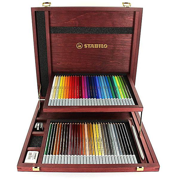 Набор цветных пастелей Stabilo Carbothello, 60 цв, деревянный футлярХудожественные наборы<br>Характеристики:<br><br>• возраст: от 3 лет<br>• в наборе: 60 пастельных карандашей, точилка, ластик, растушевка<br>• количество цветов: 60<br>• форма карандаша: круглая<br>• диаметр грифеля: 4,4 мм.<br>• длина карандаша: 17,5 см.<br>• материал корпуса: древесина<br>• упаковка: деревянный футляр<br>• размер упаковки: 33,5х40х5 см.<br>• вес: 1,639 кг.<br><br>Цветная пастель Stabilo Carbothello, в виде деревянных карандашей, идеально подходит как для художников, так и для любительского использования.<br><br>Деревянная оболочка карандаша защищает хрупкую сердцевину – пастельный мелок, способный передать бесподобную свежесть и выразительность красок. Цвета хорошо смешиваются, равномерно ложатся на поверхность, обладают хорошей покрывной способностью. Исключительная насыщенность цвета позволяет добиться великолепных результатов даже на темном фоне.<br><br>Мягкий грифель позволяет рисовать на очень тонкой бумаге. При необходимости для прорисовки тонких линий карандаши можно заточить.<br><br>Цветные пастельные карандаши можно использовать как акварельные карандаши. Для придания специальных эффектов допускается размывание водой.<br><br>Карандаши упакованы в деревянный футляр, который имеет механизм автоматического открывания.<br><br>Набор цветных пастелей Stabilo Carbothello, 60 цв, деревянный футляр можно купить в нашем интернет-магазине.<br>Ширина мм: 400; Глубина мм: 50; Высота мм: 335; Вес г: 1639; Возраст от месяцев: 36; Возраст до месяцев: 2147483647; Пол: Унисекс; Возраст: Детский; SKU: 7754162;
