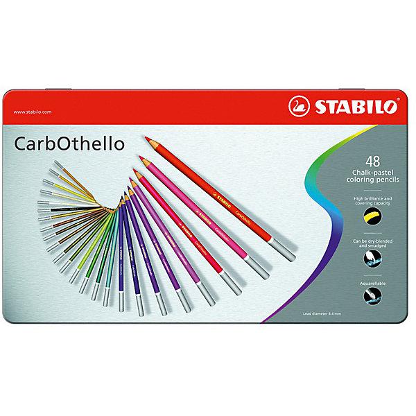 Набор цветных пастелей Stabilo Carbothello, 48 цв, металлПисьменные принадлежности<br>Характеристики:<br><br>• возраст: от 3 лет<br>• в наборе: 48 пастельных карандашей, точилка, ластик<br>• количество цветов: 48<br>• форма карандаша: круглая<br>• диаметр грифеля: 4,4 мм.<br>• длина карандаша: 17,5 см.<br>• материал корпуса: древесина<br>• упаковка: металлическая коробка<br>• размер упаковки: 20х33,3х3 см.<br>• вес: 771 гр.<br><br>Цветная пастель Stabilo Carbothello, в виде деревянных карандашей, идеально подходит как для художников, так и для любительского использования.<br><br>Деревянная оболочка карандаша защищает хрупкую сердцевину – пастельный мелок, способный передать бесподобную свежесть и выразительность красок. Цвета хорошо смешиваются, равномерно ложатся на поверхность, обладают хорошей покрывной способностью. Исключительная насыщенность цвета позволяет добиться великолепных результатов даже на темном фоне.<br><br>Мягкий грифель позволяет рисовать на очень тонкой бумаге. При необходимости для прорисовки тонких линий карандаши можно заточить.<br><br>Цветные пастельные карандаши можно использовать как акварельные карандаши. Для придания специальных эффектов допускается размывание водой.<br><br>Карандаши упакованы в удобную металлическую коробку.<br><br>Набор цветных пастелей Stabilo Carbothello, 48 цв, металл можно купить в нашем интернет-магазине.<br>Ширина мм: 333; Глубина мм: 30; Высота мм: 200; Вес г: 771; Возраст от месяцев: 36; Возраст до месяцев: 2147483647; Пол: Унисекс; Возраст: Детский; SKU: 7754170;