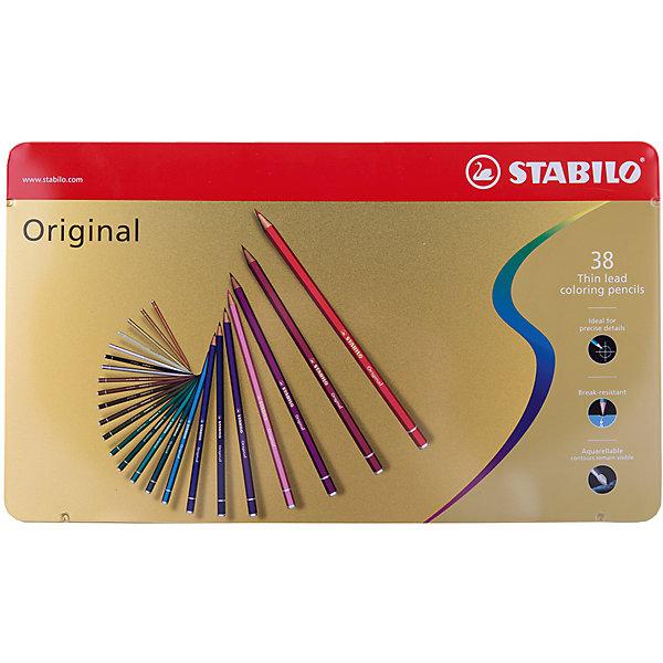 Набор цветных карандашей Stabilo original 38 цв, металлПисьменные принадлежности<br>Характеристики:<br><br>• возраст: от 3 лет<br>• в наборе: 38 карандашей<br>• количество цветов: 38<br>• твердость грифеля: В (мягкий)<br>• диаметр грифеля: 2,5 мм.<br>• длина карандаша: 17,5 см.<br>• материал корпуса: древесина<br>• упаковка: металлическая коробка<br>• размер упаковки: 33,3х20х3 см.<br>• вес: 549 гр.<br><br>Цветные карандаши с тонким грифелем Stabilo original позволяют проводить четкие тонкие линии не толще волоса человека.<br><br>Цветные карандаши Stabilo original подходят для художественных и графических работ. Они идеальны для технических чертежей и для фотокопирования.<br><br>Карандаши обеспечивают легкую смешиваемость красок, мягкие, однородные по цвету линии. Высокая степень пигментации гарантирует яркость цвета, и исключительную покрывающую способность даже на темном фоне, а также устойчивость к свету.<br><br>Карандаши можно использовать как акварельные карандаши, но контуры остаются видимыми.<br><br>Корпус карандашей изготовлен из высококачественной древесины. Карандаши легко затачиваются. Грифель ударопрочный.<br><br>Карандаши упакованы в удобную металлическую коробку.<br><br>Набор цветных карандашей Stabilo original 38 цв, металл можно купить в нашем интернет-магазине.<br>Ширина мм: 333; Глубина мм: 30; Высота мм: 200; Вес г: 549; Возраст от месяцев: 36; Возраст до месяцев: 2147483647; Пол: Унисекс; Возраст: Детский; SKU: 7754178;