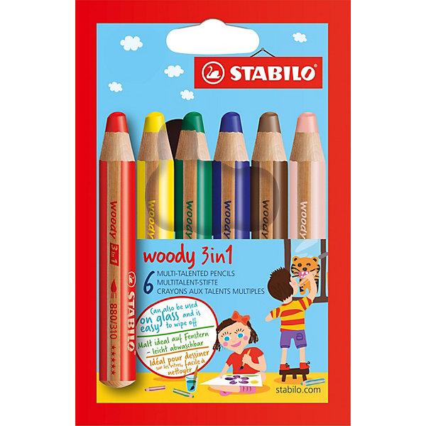 Набор цветных карандашей Stabilo woody 6цв, картонПисьменные принадлежности<br>Характеристики:<br><br>• возраст: от 3 лет<br>• в наборе: 6 карандашей<br>• количество цветов: 6<br>• диаметр грифеля: 1 см.<br>• длина карандаша: 11 см.<br>• материал корпуса: древесина<br>• упаковка: картонная коробка<br>• размер упаковки: 15,5х9,5х2 см.<br>• вес: 102 гр.<br><br>Супертолстые цветные карандаши Stabilo «Woody» 3 в 1 - это уникальные карандаши, сочетающие в себе возможности цветных карандашей, акварельных красок и восковых мелков.<br><br>Высокая степень пигментации гарантирует яркость цвета, и исключительную покрывающую способность даже на темном фоне. Отличные акварельные качества позволяют добиться необычных изобразительных эффектов. Прочный грифель идеален для раскрашивания.<br><br>Карандаши Stabilo «Woody» пишут практически на всех гладких поверхностях, включая стекло.<br><br>Набор цветных карандашей Stabilo woody 6цв, картон можно купить в нашем интернет-магазине.<br>Ширина мм: 95; Глубина мм: 155; Высота мм: 20; Вес г: 102; Возраст от месяцев: 36; Возраст до месяцев: 2147483647; Пол: Унисекс; Возраст: Детский; SKU: 7754180;
