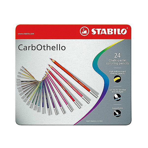 Набор цветных пастелей Stabilo Carbothello, 24 цв, металлЦветные<br>Характеристики:<br><br>• возраст: от 3 лет<br>• в наборе: 24 пастельных карандаша<br>• количество цветов: 24<br>• форма карандаша: круглая<br>• диаметр грифеля: 4,4 мм.<br>• длина карандаша: 17,5 см.<br>• материал корпуса: древесина<br>• упаковка: металлическая коробка<br>• размер упаковки: 18,8х21,5х1,2 см.<br>• вес: 322 гр.<br><br>Цветная пастель Stabilo Carbothello, в виде деревянных карандашей, идеально подходит как для художников, так и для любительского использования.<br><br>Деревянная оболочка карандаша защищает хрупкую сердцевину – пастельный мелок, способный передать бесподобную свежесть и выразительность красок. Цвета хорошо смешиваются, равномерно ложатся на поверхность, обладают хорошей покрывной способностью. Исключительная насыщенность цвета позволяет добиться великолепных результатов даже на темном фоне.<br><br>Мягкий грифель позволяет рисовать на очень тонкой бумаге. При необходимости для прорисовки тонких линий карандаши можно заточить.<br><br>Цветные пастельные карандаши можно использовать как акварельные карандаши. Для придания специальных эффектов допускается размывание водой.<br><br>Карандаши упакованы в удобную металлическую коробку.<br><br>Набор цветных пастелей Stabilo Carbothello, 24 цв, металл можно купить в нашем интернет-магазине.<br>Ширина мм: 215; Глубина мм: 12; Высота мм: 188; Вес г: 322; Возраст от месяцев: 36; Возраст до месяцев: 2147483647; Пол: Унисекс; Возраст: Детский; SKU: 7754184;