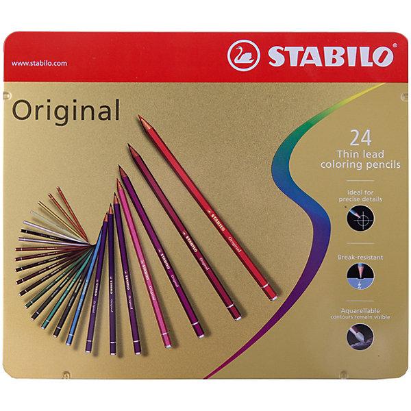 Набор цветных карандашей Stabilo original 24 цв, металлПисьменные принадлежности<br>Характеристики:<br><br>• возраст: от 3 лет<br>• в наборе: 24 карандаша<br>• количество цветов: 24<br>• твердость грифеля: В (мягкий)<br>• диаметр грифеля: 2,5 мм.<br>• длина карандаша: 17,5 см.<br>• материал корпуса: древесина<br>• упаковка: металлическая коробка<br>• размер упаковки: 21х19х1,3 см.<br>• вес: 269 гр.<br><br>Цветные карандаши с тонким грифелем Stabilo original позволяют проводить четкие тонкие линии не толще волоса человека.<br><br>Цветные карандаши Stabilo original подходят для художественных и графических работ. Они идеальны для технических чертежей и для фотокопирования.<br><br>Карандаши обеспечивают легкую смешиваемость красок, мягкие, однородные по цвету линии. Высокая степень пигментации гарантирует яркость цвета, и исключительную покрывающую способность даже на темном фоне, а также устойчивость к свету.<br><br>Карандаши можно использовать как акварельные карандаши, но контуры остаются видимыми.<br><br>Корпус карандашей изготовлен из высококачественной древесины. Карандаши легко затачиваются. Грифель ударопрочный.<br><br>Карандаши упакованы в удобную металлическую коробку.<br><br>Набор цветных карандашей Stabilo original 24 цв, металл можно купить в нашем интернет-магазине.<br>Ширина мм: 210; Глубина мм: 13; Высота мм: 190; Вес г: 269; Возраст от месяцев: 36; Возраст до месяцев: 2147483647; Пол: Унисекс; Возраст: Детский; SKU: 7754186;