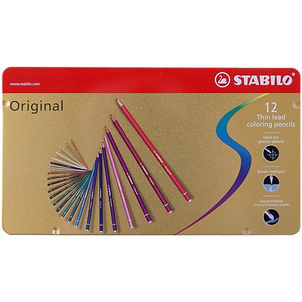Набор цветных карандашей Stabilo original 12 цв, металлПисьменные принадлежности<br>Характеристики:<br><br>• возраст: от 3 лет<br>• в наборе: 12 карандашей<br>• количество цветов: 12<br>• твердость грифеля: В (мягкий)<br>• диаметр грифеля: 2,5 мм.<br>• длина карандаша: 17,5 см.<br>• материал корпуса: древесина<br>• упаковка: металлическая коробка<br>• размер упаковки: 18,1х10х1,1 см.<br>• вес: 146 гр.<br><br>Цветные карандаши с тонким грифелем Stabilo original позволяют проводить четкие тонкие линии не толще волоса человека.<br><br>Цветные карандаши Stabilo original подходят для художественных и графических работ. Они идеальны для технических чертежей и для фотокопирования.<br><br>Карандаши обеспечивают легкую смешиваемость красок, мягкие, однородные по цвету линии. Высокая степень пигментации гарантирует яркость цвета, и исключительную покрывающую способность даже на темном фоне, а также устойчивость к свету.<br><br>Карандаши можно использовать как акварельные карандаши, но контуры остаются видимыми.<br><br>Корпус карандашей изготовлен из высококачественной древесины. Карандаши легко затачиваются. Грифель ударопрочный.<br><br>Карандаши упакованы в удобную металлическую коробку.<br><br>Набор цветных карандашей Stabilo original 12 цв, металл можно купить в нашем интернет-магазине.<br>Ширина мм: 181; Глубина мм: 11; Высота мм: 100; Вес г: 146; Возраст от месяцев: 36; Возраст до месяцев: 2147483647; Пол: Унисекс; Возраст: Детский; SKU: 7754192;
