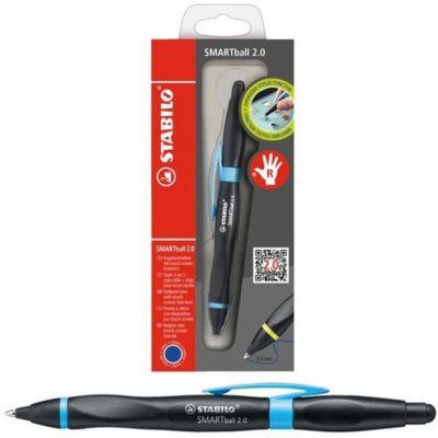 Ручка-стилус Stabilo smartball 2.0 д/правшей синяя, корпус черный/голубой, артикул:7754194 - Канцтовары