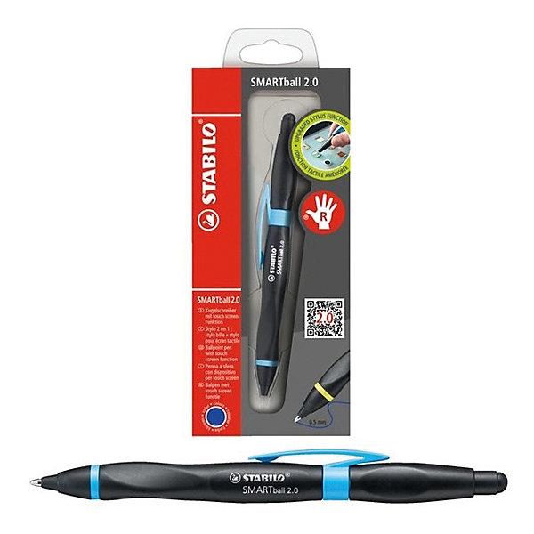 Купить Ручка-стилус Stabilo smartball 2.0 д/правшей синяя, корпус черный/голубой, Германия, Унисекс