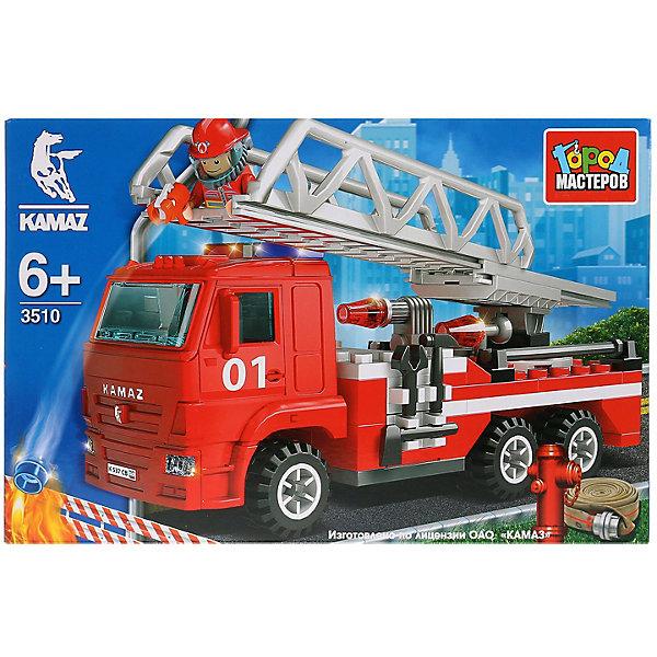 Купить Конструктор КАМАЗ: пожарная машина с лестницей , с фигуркой, 126 дет., Город мастеров, Китай, красный, Мужской