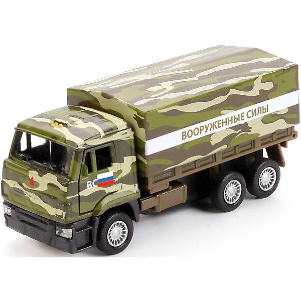 Машина КАМАЗ 65207 военный бортовой со съемным тентом 12см инерц.Военный транспорт<br>Характеристики товара:<br><br>• возраст: от 3 лет;<br>• размер упаковки: 17x6x13 см.;<br>• вес: 180 гр.;<br>• размер машинки: 12 см.;<br>• комплектация: 1 машина;<br>• из чего сделана игрушка (состав): пластик;<br>• упаковка: картонная коробка с блистером.<br><br>Данная машина выполнена на платформе автомобиля КамАЗ.<br><br>Ее кабина оснащена открывающимися дверьми, а кузов представляет собой бортовую платформу со съемным тентом.<br><br>Игрушка оснащена инерционным механизмом, позволяющим ей самостоятельно ездить по ровной поверхности, достаточно лишь слегка оттянуть ее назад, а затем отпустить.<br><br>Такая игрушка подойдет для различных увлекательных сюжетов, с помощью нее ребенок сможет развить мелкую моторику рук, пофантазировать и весело провести время.<br><br>Машину «КАМАЗ 65207 военный бортовой со съемным тентом» можно купить в нашем интернет-магазине.<br>Ширина мм: 170; Глубина мм: 60; Высота мм: 130; Вес г: 180; Цвет: зеленый; Возраст от месяцев: 36; Возраст до месяцев: 96; Пол: Мужской; Возраст: Детский; SKU: 7754762;