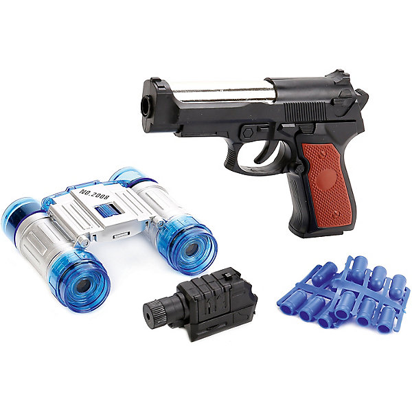 Набор Полиция.Наборы полицейского, пожарного<br>Характеристики товара:<br><br>• возраст: от 3 лет;<br>• размер упаковки: 30x3x20 см.;<br>• вес: 250 гр.;<br>• количество предметов: 4 шт.;<br>• из чего сделана игрушка (состав): пластик;<br>• упаковка: кблистер на картоне.<br><br>Игровой набор «Полиция» состоит из 4 предметов, среди которых пистолет и бинокль.<br><br>Ценители оружия отметят реалистичный дизайн пистолета и его разнообразные функции, благодаря которым игра с ним будет правдоподобной и эффектной.<br><br>Пистолет превосходно детализирован, корпус исполнен в черном цвете. В комплекте находятся пули, которыми можно стрелять.<br><br>Пули выполнены из мягкого материала, и при попадании по телу человека не оставляют следов и не вызывают неприятных ощущений.<br><br>Набор «Полиция» можно купить в нашем интернет-магазине.<br>Ширина мм: 300; Глубина мм: 30; Высота мм: 200; Вес г: 250; Цвет: черный; Возраст от месяцев: 36; Возраст до месяцев: 96; Пол: Мужской; Возраст: Детский; SKU: 7754766;