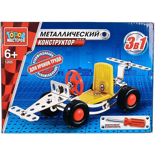 Конструктор металлический Машинка 3-в-1, 83 дет.Металлические конструкторы<br>Характеристики товара:<br><br>• возраст: от 6 лет;<br>• размер упаковки: 25x4x18 см.;<br>• вес: 290 гр.;<br>• количество деталей: 83 шт.;<br>• комплект: детали конструктора, отвертка;<br>• из чего сделана игрушка (состав): металл;<br>• упаковка: картонная коробка.<br><br>Металлический конструктор «Машинка 3-в-1» состоит из 83 деталей конструктора и отвертки.<br><br>После сборки ребенок получит замечательную модель бетономешалки с оранжевым барабаном и подвижными колесами.<br><br>Для сборки необходимо следовать приложенной инструкции, применив смекалку и терпение. <br><br>Сборка конструктора развивет фантазию, глазомер и пространственное мышление. <br><br>Предназначено для уроков труда и домашнего досуга.<br><br>Конструктор металлический «Машинка 3-в-1» можно купить в нашем интернет-магазине.<br>Ширина мм: 250; Глубина мм: 40; Высота мм: 180; Вес г: 290; Цвет: синий/серебряный; Возраст от месяцев: 72; Возраст до месяцев: 120; Пол: Мужской; Возраст: Детский; SKU: 7754768;