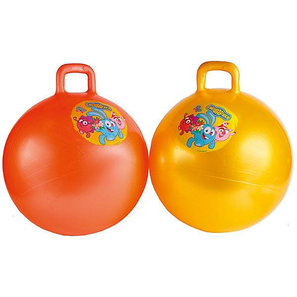 Мяч Смешарики 55см с ручкой.Смешарики<br>Характеристики товара:<br><br>• возраст: от 3 лет;<br>• размер упаковки: 19x8x24 см.;<br>• вес: 630 гр.;<br>• комплект: 1 мяч;<br>• диаметр мяча: 55 см.;<br>• из чего сделана игрушка (состав): резина;<br>• упаковка: картонная коробка.<br><br>Мяч-попрыгун с ручкой «Смешарики»  яркое и очень нужное изделие, которое сможет привлечь детей к активным играм. <br><br>Детям понравится прыгать на мячике, держась за специальную ручку, а также просто катать его с места на место. <br><br>Яркий принт с изображением любимых героев сможет дополнительно порадовать ребенка.<br><br>Мяч-попрыгун с ручкой «Смешарики» можно купить в нашем интернет-магазине.<br>Ширина мм: 190; Глубина мм: 80; Высота мм: 240; Вес г: 630; Цвет: желтый/красный; Возраст от месяцев: 36; Возраст до месяцев: 72; Пол: Унисекс; Возраст: Детский; SKU: 7754802;