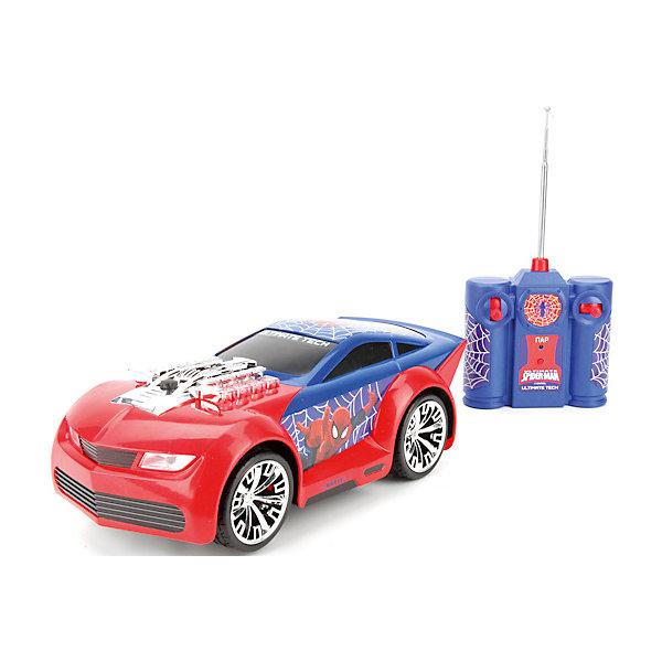 Машина Marvel Человек-паук 18 см, р/у, свет+звук, c паром.Радиоуправляемые машины<br>Характеристики товара:<br><br>• возраст: от 3 лет;<br>• размер упаковки: 18x19x40 см.;<br>• вес: 1,23 кг.;<br>• комплект: машинка, пульт р/у, батарейки;<br>• тип батареек для пульта: 2 батарейки типа АА;<br>• тип батареек для машины: 5 батареек типа АА;<br>• из чего сделана игрушка (состав): пластмасса;<br>• упаковка: картонная коробка с блистером.<br><br>Машина «Marvel Человек-паук» радиоуправляемая, вся покрыта изображениями Человека-паука, пульт управления так же выдержан в цветах и стиле героя.<br><br>Мощный и стильный автомобиль имеет световые и звуковые эффекты, машина может пускать пар.<br><br>Игра с машиной совершенствует моторику рук и координацию движений ребёнка. Придумывая увлекательные сюжеты для игры, дети стимулируют свою фантазию и воображение. <br><br>Машину «Marvel Человек-паук» можно купить в нашем интернет-магазине.<br>Ширина мм: 180; Глубина мм: 190; Высота мм: 400; Вес г: 1230; Цвет: синий/красный; Возраст от месяцев: 36; Возраст до месяцев: 96; Пол: Мужской; Возраст: Детский; SKU: 7754806;