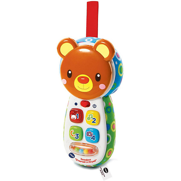 Детский телефон Vtech Отвечай и играй со светом и звукомДетские гаджеты<br>Характеристики товара:<br><br>• возраст: от 6 месяцев;<br>• материал: пластик;<br>• размер упаковки: 19х12,5х5 см;<br>• вес упаковки: 240 гр.;<br>• страна бренда: Гонконг.<br><br>Детский телефон Vtech «Отвечай и играй» - увлекательная развивающая игрушка для малышей от 6 месяцев. Выполнена она в виде телефончика с кнопочками и головой медвежонка. Нажимая на кнопки, малыш сможет послушать более 70 песенок, мелодий и звуков, выучит новые слова, цифры, цвета. Голова медвежонка поворачивается и открывается зеркало для игры в прятки. Увлекательная игра сопровождается световыми и звуковыми эффектами. <br><br>Детский телефон Vtech «Отвечай и играй» можно приобрести в нашем интернет-магазине.<br>Ширина мм: 50; Глубина мм: 125; Высота мм: 190; Вес г: 240; Возраст от месяцев: 6; Возраст до месяцев: 36; Пол: Унисекс; Возраст: Детский; SKU: 7755076;