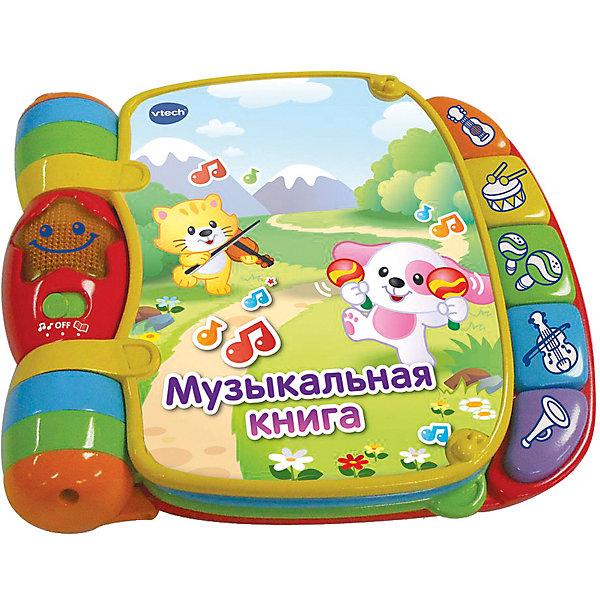 Музыкальная книга VtechРазвивающие игрушки<br>Характеристики товара:<br><br>• возраст: от 6 месяцев;<br>• материал: пластик;<br>• размер упаковки: 21х20х52 см;<br>• вес упаковки: 670 гр.;<br>• страна бренда: Гонконг.<br><br>Музыкальная книга Vtech — увлекательная красочная книжка для малышей от 6 месяцев, воспроизводящая более 40 песенок, мелодий и звуков. Чтобы послушать мелодии, достаточно лишь переворачивать страницы и нажимать на кнопочки. <br><br>Книжка работает в 2 режимах. В музыкальном режиме малыш и изучает мелодии, инструменты, а в обучающей режиме знакомится с песенками и учит новые слова. Всего в книжке 6 страничек, на которых можно также послушать 6 стишков. <br><br>Игрушка способствует развитию мелкой моторики рук, цветового и звукового восприятия, музыкального слуха, помогает малышу выучить новые слова. Выполнена из безопасного пластика.<br><br>Музыкальную книгу Vtech можно приобрести в нашем интернет-магазине.<br>Ширина мм: 600; Глубина мм: 210; Высота мм: 250; Вес г: 670; Возраст от месяцев: 6; Возраст до месяцев: 36; Пол: Унисекс; Возраст: Детский; SKU: 7755084;