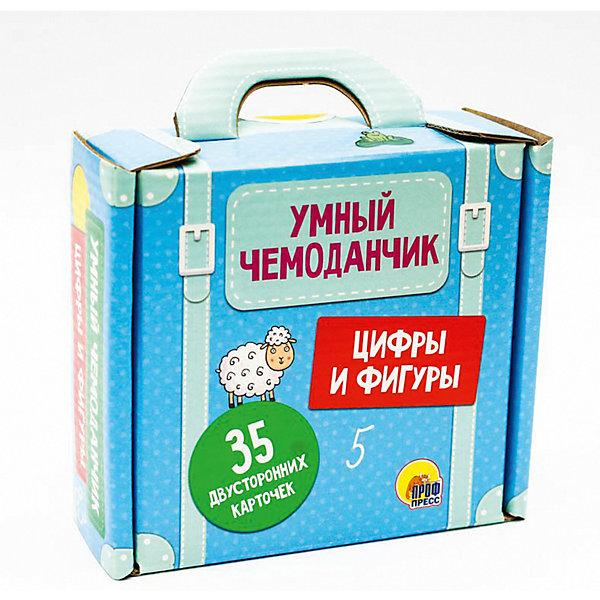 Умный чемоданчик Цифры и фигуры.Обучающие карточки<br>Характеристики:<br><br>• тип игрушки: книга;<br>• возраст: от 3 лет;<br>• ISBN: 978-5-378-27398-0;<br>• редактор: Скворцова Александра;<br>• количество страниц: 70 (картон);<br>• материал: бумага;<br>• вес: 420 гр;<br>• размер: 11,8х13х5 см; <br>• издательство: Проф-Пресс.<br>   <br>Книга «Цифры и фигуры (35 двусторонних карточек)» содержит 35 обучающих карточек, которые помогут вашему ребёнку познакомиться с цифрами, фигурами и с основами счёта. Игры На что похожа цифра и На что похожа геометрическая фигура, представленные на отдельных карточках, помогут ребёнку развить ассоциативное мышление и лучше усвоить пройденное. Яркие картинки привлекут внимание малыша, а плотный материал карточек не позволит им помяться во время активной игры.<br><br> Книгу «Цифры и фигуры (35 двусторонних карточек)» можно купить в нашем интернет-магазине.<br>Ширина мм: 135; Глубина мм: 50; Высота мм: 125; Вес г: 450; Возраст от месяцев: 36; Возраст до месяцев: 84; Пол: Унисекс; Возраст: Детский; SKU: 7757277;