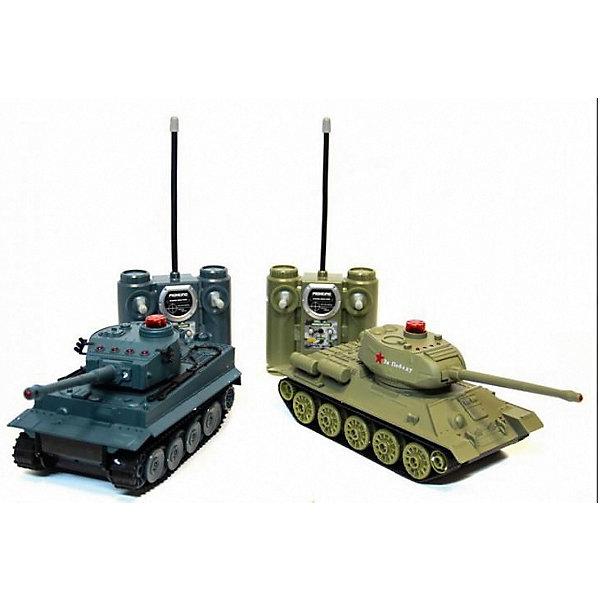Танковый бой HuanQiРадиоуправляемые танки<br>Характеристики товара:<br><br>• возраст: от 8 лет;<br>• материал: пластик;<br>• в комплекте: 2 танка, 2 пульта, 2 аккумулятора, 2 зарядных устройства;<br>• тип батареек: 4 батарейки АА (для пультов);<br>• наличие батареек: в комплект не входят;<br>• масштаб: 1:32;<br>• световые и звуковые эффекты;<br>• вращающиеся башни танков;<br>• инфракрасная система наведения;<br>• индикатор жизни;<br>• время игры: 15-20 минут;<br>• дальность действия пульта: 10 метров;<br>• размер упаковки: 48х30х13 см;<br>• вес упаковки: 1,65 кг;<br>• страна бренда: Китай.<br><br>Танковый бой HuanQi позволит устроить захватывающие танковые сражения между легендарным советским танком Т34 и немецким «Тигром». Башни танков вращаются на 300 градусов, поднимаются и опускаются. Стреляют танки при помощи ИК-системы наведения на цель. Во время выстрелов слышны реалистичные звуки.<br><br>Индикаторы жизни помогают определить, сколько еще осталось танку. При попадании в танк индикаторы автоматически отключаются. Выполнены танки из ударопрочного пластика и выдержат повреждения и столкновения.<br><br>Танковый бой HuanQi можно приобрести в нашем интернет-магазине.<br>Ширина мм: 480; Глубина мм: 130; Высота мм: 300; Вес г: 1650; Цвет: серый; Возраст от месяцев: 96; Возраст до месяцев: 2147483647; Пол: Мужской; Возраст: Детский; SKU: 7757329;