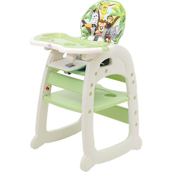 Стульчик для кормления Polini 460, зеленыйСтульчики для кормления<br>Характеристики:<br><br>• стульчик 2в1: стульчик для кормления, парта со стульчиком;<br>• регулируемая спинка: 3 положения наклона;<br>• регулируемый столик: 3 положения глубины;<br>• столешницу можно снять;<br>• 5-ти точечные ремни безопасности;<br>• мягкий чехол можно снять и постирать при температуре 30 градусов;<br>• материал: пластик, полиэстер;<br>• возраст ребенка: от 6 месяцев до 3-х лет;<br>• вес ребенка: до 15 кг;<br>• парта и стульчик предназначены для детей от 3-х до 6-ти лет;<br>• вес: до 18 кг;<br>• размер стульчика для кормления 76х55х110 см;<br>• размер столика для кормления 62х39 см;<br>• размер детского стульчика 76х55х46 см;<br>• размер столешницы 46х57 см;<br>• размер стульчика 56х46,5х66 см;<br>• размер упаковки: 53х20х27 см;<br>• вес в упаковке: 9 кг.<br><br>Функциональный стульчик для кормления используется от полугода до шести лет. Стульчик для кормления с высокой спинкой, столешницей и ремнями безопасности пригодится на этапе введения прикорма. Регулируемая по глубине столешница и регулируемая по наклону спинка стульчика позволяет не только принимать пищу, но также и отдыхать после обеда. После 3-х лет конструкцию стульчика можно преобразовать в детский столик и стул со спинкой. Ребенок сможет рисовать, раскрашивать, лепить и собирать пазлы, сидя за столиком. <br><br>Стульчик для кормления Polini 460, зеленый можно купить в нашем интернет-магазине.<br>Ширина мм: 530; Глубина мм: 270; Высота мм: 650; Вес г: 9000; Цвет: зеленый; Возраст от месяцев: 72; Возраст до месяцев: 6; Пол: Унисекс; Возраст: Детский; SKU: 7760068;