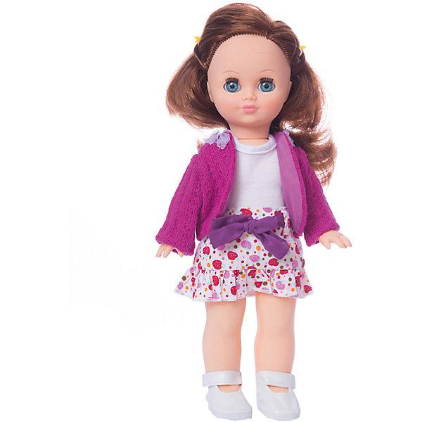 Кукла Элла 7 озвученная 35 см.Куклы<br>Характеристики товара:<br><br>• возраст: от 3 лет;<br>• размер: 10х17х42 см;<br>• высота куклы: 35 см;<br>• вес: 380 г;<br>• материал: пластик, текстиль;<br>• бренд: Весна.<br><br>Кукла Элла со звуковым устройством от российского бренда «Весна» приглашает каждую девочку поиграть с собой. Особенность куклы состоит в том, что она может произносить несколько фраз. Это разнообразит сюжетно-ролевые игры ребенка и позволит кукле стать лучшей подружкой малышки.<br><br>У Эллы очень милое личико с красивыми голубыми глазами, пухлыми губами и длинными ресницами. Светлые волосы выполнены из качественного нейлона, хорошо прошиты, что дает возможность не только расчесывать куклу, но и завивать ей пряди.<br><br>На Эллы надета яркая разноцветная юбочка, белая майка и розовый кардиган. На ногах у девочки милые белые туфельки.<br><br>Куклу Эллу со звуковым устройством можно купить в нашем интернет-магазине.<br>Ширина мм: 100; Глубина мм: 170; Высота мм: 420; Вес г: 380; Возраст от месяцев: 36; Возраст до месяцев: 120; Пол: Женский; Возраст: Детский; SKU: 7766919;