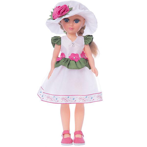 Кукла Анастасия Азалия, со звуком 42 см.Куклы<br>Характеристики товара:<br><br>• возраст: от 3 лет;<br>• упаковка: туба;<br>• размер: 21х51х29 см;<br>• высота куклы: 42 см;<br>• вес: 560 г;<br>• материал: пластик, нейлон, текстиль, винил;<br>• бренд: Весна.<br><br>Кукла Анастасия Азалия со звуковым устройством от российского бренда «Весна» приглашает каждую девочку поиграть с собой. Особенность куклы состоит в том, что она может произносить несколько фраз. Это разнообразит сюжетно-ролевые игры ребенка и позволит кукле стать лучшей подружкой малышки.<br><br>У Азалии очень милое личико с красивыми голубыми глазами, пухлыми губами и длинными ресницами. Светлые волосы завязаны в косички, выполнены из качественного нейлона, хорошо прошиты, что дает возможность не только расчесывать куклу, но и завивать ей пряди.<br><br>На Азалии нежное белое платье с зелеными оборками и розовыми цветочками. На ногах у куклы розовые туфельки, а изюминкой ее образа является шляпка с большими полями под цвет платья. Весь образ напоминает о славных летних деньках.<br><br><br>Куклу Анастасию Азалию можно купить в нашем интернет-магазине.<br>Ширина мм: 210; Глубина мм: 290; Высота мм: 510; Вес г: 558; Возраст от месяцев: 36; Возраст до месяцев: 120; Пол: Женский; Возраст: Детский; SKU: 7766927;