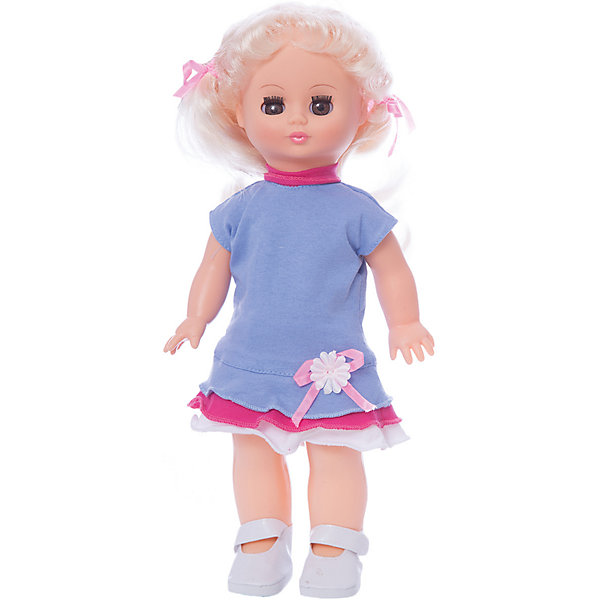 Кукла Жанна 9 со звуком 34 см.Куклы<br>Характеристики товара:<br><br>• возраст: от 3 лет;<br>• размер: 10х17х38 см;<br>• высота куклы: 34 см;<br>• вес: 360 г;<br>• материал: пластик, текстиль;<br>• бренд: Весна.<br><br>Кукла Жанна со звуковым устройством от российского бренда «Весна» приглашает каждую девочку поиграть с собой. Особенность куклы состоит в том, что она может произносить несколько фраз. Это разнообразит сюжетно-ролевые игры ребенка и позволит кукле стать лучшей подружкой малышки.<br><br>У Жанны очень милое личико с красивыми карими глазами, пухлыми губами и длинными ресницами. Светлые волосы убраны в хвостики, выполнены из качественного нейлона, хорошо прошиты, что дает возможность не только расчесывать куклу, но и завивать ей пряди.<br><br>На Жанне надето милое голубое платье с розовыми оборками и бантиком, на ножках у нее светлые туфельки. Образ дополняют розовые в цвет ленточки на хвостиках куклы.<br><br><br>Куклу Жанну можно купить в нашем интернет-магазине.<br>Ширина мм: 100; Глубина мм: 170; Высота мм: 380; Вес г: 360; Возраст от месяцев: 36; Возраст до месяцев: 120; Пол: Женский; Возраст: Детский; SKU: 7766937;