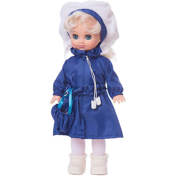 Кукла Весна Маргарита 4 озвученная, 38 смКуклы<br>Характеристики товара:<br><br>• возраст: от 3 лет;<br>• размер: 42х18х10 см;<br>• высота куклы: 38 см;<br>• вес: 400 г;<br>• материал: пластик, металл, текстиль;<br>• тип батареек: 3 х AG13 / LR44 (миниатюрные);<br>• бренд: Весна.<br><br>Кукла Маргарита со звуковым устройством от российского бренда «Весна» приглашает каждую девочку поиграть с собой. Особенность куклы состоит в том, что она может произносить несколько фраз. Это разнообразит сюжетно-ролевые игры ребенка и позволит кукле стать лучшей подружкой малышки.<br><br>У Маргариты очень милое личико с красивыми зелеными глазами, пухлыми губами и длинными ресницами. Светлые волосы убраны в хвостик, выполнены из качественного нейлона, хорошо прошиты, что дает возможность не только расчесывать куклу, но и завивать ей пряди.<br><br>На Маргарите стильное розовое платье-плащ, шляпка в цвет и сумочка на поясе. На ножках у куклы белые колготки и ботиночки. Весь образ напоминает о славных осенних деньках.<br><br><br>Куклу Маргариту можно купить в нашем интернет-магазине.<br>Ширина мм: 100; Глубина мм: 170; Высота мм: 420; Вес г: 400; Возраст от месяцев: 36; Возраст до месяцев: 120; Пол: Женский; Возраст: Детский; SKU: 7766949;