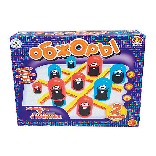 Академия Игр. Игра настольная Обжоры, в коробке, 23x19,5x4,5 смНастольные игры для всей семьи<br>Характеристики товара:<br><br>• возраст: от 3 лет;<br>• упаковка: картонная коробка;<br>• размер: 27x6x27 см;<br>• 2-4 игрока;<br>• материал: пластик;<br>• бренд: ABtoys.<br><br>Настольная игра в слова «Обжоры» – это забавная игра, похожая на крестики-нолики, которая не даст детям скучать. Подобные игры развивают внимательность, наблюдательность и память.<br><br>У каждого игрока по 9 фишек, которые можно надевать друг на друга. Большая по размеру способна «съедать» фишку противника, для того, чтобы построить свой ряд. Цель игры – составить из трёх своих фишек ряд.<br><br>В комплект набора входит игровое поле, состоящее из четырех перекладин и 18 фишек (по 9 разного размера). Правила игры указаны на обратной стороне упаковки.<br><br>Настольную игру «Обжоры» можно купить в нашем интернет-магазине.<br>Ширина мм: 230; Глубина мм: 195; Высота мм: 45; Вес г: 271; Возраст от месяцев: 36; Возраст до месяцев: 120; Пол: Унисекс; Возраст: Детский; SKU: 7766963;