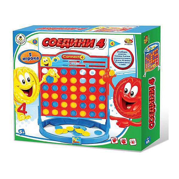 Академия Игр. Игра настольная Соедини 4, в коробке, 32x6x28 смНастольные игры для всей семьи<br>Характеристики товара:<br><br>• возраст: от 5 лет;<br>• упаковка: картонная коробка;<br>• размер: 32х6х28 см;<br>• 2-4 игрока;<br>• материал: пластик, картон;<br>• вес: 508 г;<br>• бренд: ABtoys.<br><br>Настольная игра в слова «Соедини 4» – это увлекательная игра, развивающая логическое мышление и смекалку. Цель игры – стать первым, кто соберет ряд из 4 фишек своего цвета горизонтально, вертикально, диагонально или в форме ромба.<br><br>По ходу игры, участники бросают фишки в определенное отверстие на решетке, до тех пор, пока игрок не получит нужную комбинацию. Побеждает тот игрок, который первым соберет 7 нужных комбинаций.<br><br>В комплект набора входит решетка, 2 ножки, 2 детали накопителя фишек, 2 флага, держатель фишек, 42 фишки (21 каждого цвета), наклейки. Инструкция написана на упаковке.<br><br>Настольную игру «Соедини 4» можно купить в нашем интернет-магазине.<br>Ширина мм: 320; Глубина мм: 60; Высота мм: 280; Вес г: 417; Возраст от месяцев: 60; Возраст до месяцев: 120; Пол: Унисекс; Возраст: Детский; SKU: 7766967;